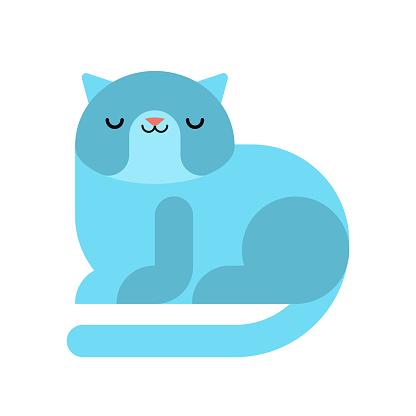 Blue Cat Pet Isoliert Tierischen Vektorillustration Stock Vektor Art und mehr Bilder von Auge