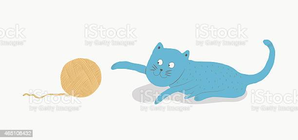 Blue cat playing with a ball of yarn vector illustration vector id465108432?b=1&k=6&m=465108432&s=612x612&h=aco3nbjwdlo 0vmgovee1vrrnavvfggpynvrw0fzz q=