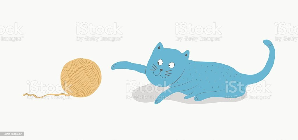 Blue cat playing with a ball of yarn, vector illustration vector art illustration
