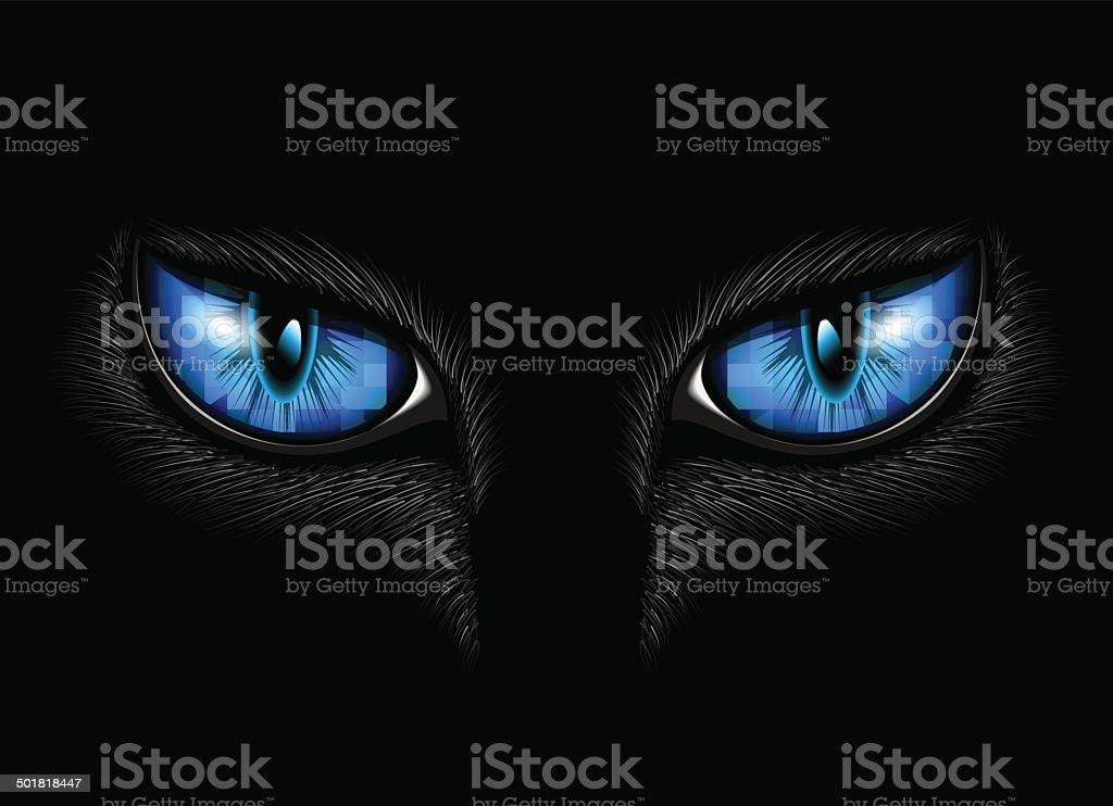 blue cat's eyes vector art illustration