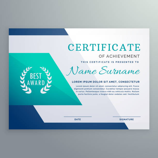 illustrazioni stock, clip art, cartoni animati e icone di tendenza di blue certificate design template in geometric shape style - attestato