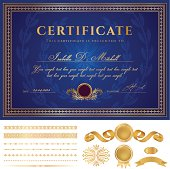 Blue Certificate / Diploma / Coupon (template). Award background (borders, Guilloche pattern)