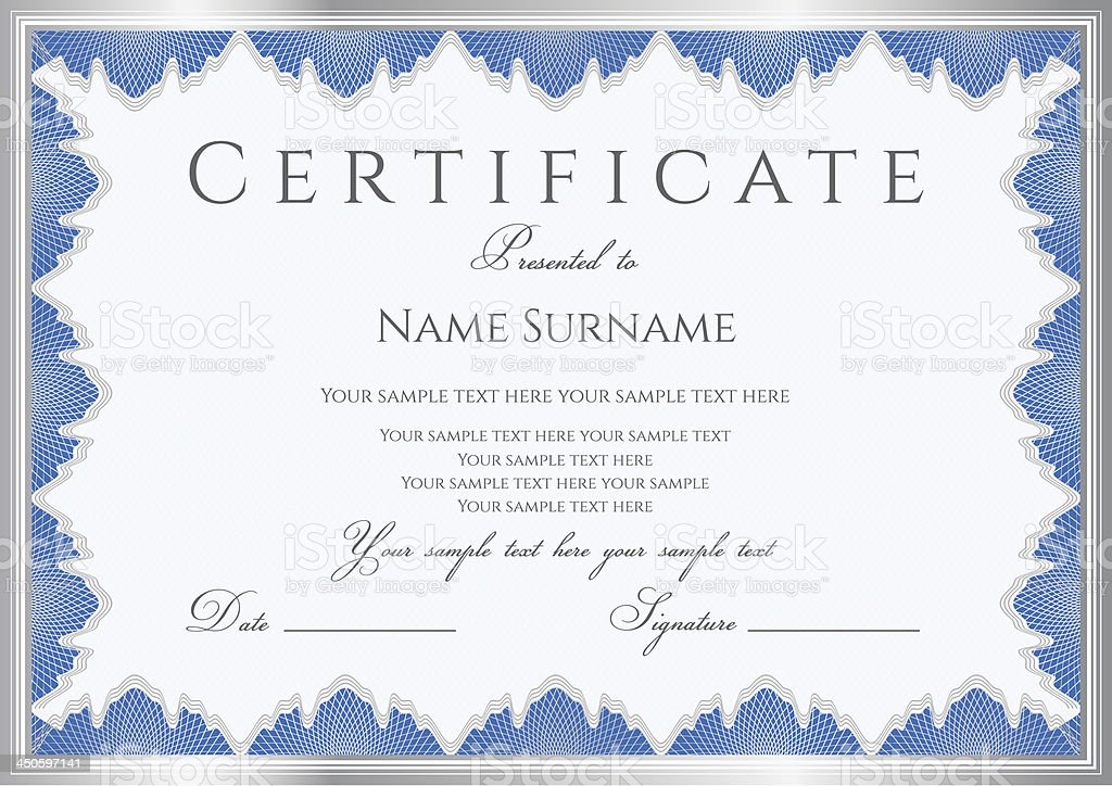 blue certificate diploma coupon template award background guilloche pattern