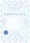 Blue Certificate / Diploma of completion (template) with guilloche pattern (watermarks)