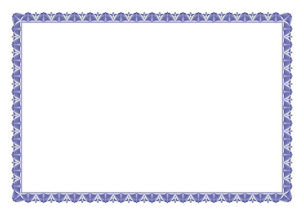 stockillustraties, clipart, cartoons en iconen met blauw certificaat van appreciatie grens - certificaat
