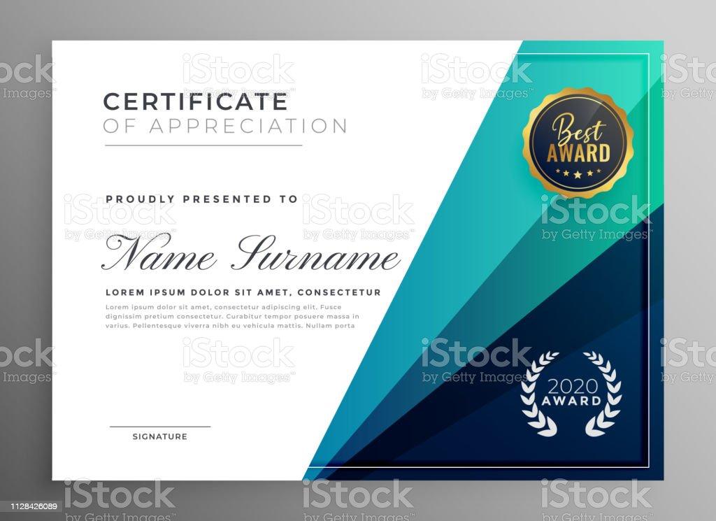 blue certificate of appreciation template design
