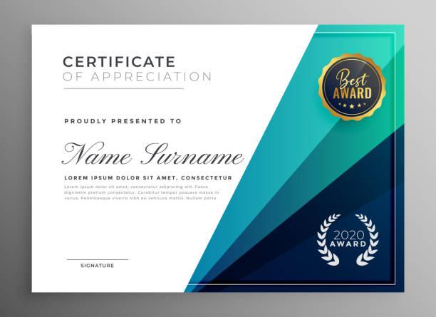 blauen Bescheinigung über die Anerkennung-Template-design – Vektorgrafik