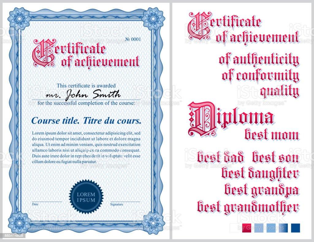 Blaue Zertifikat Vorlage Guilloche Vertikale Stock Vektor Art und ...
