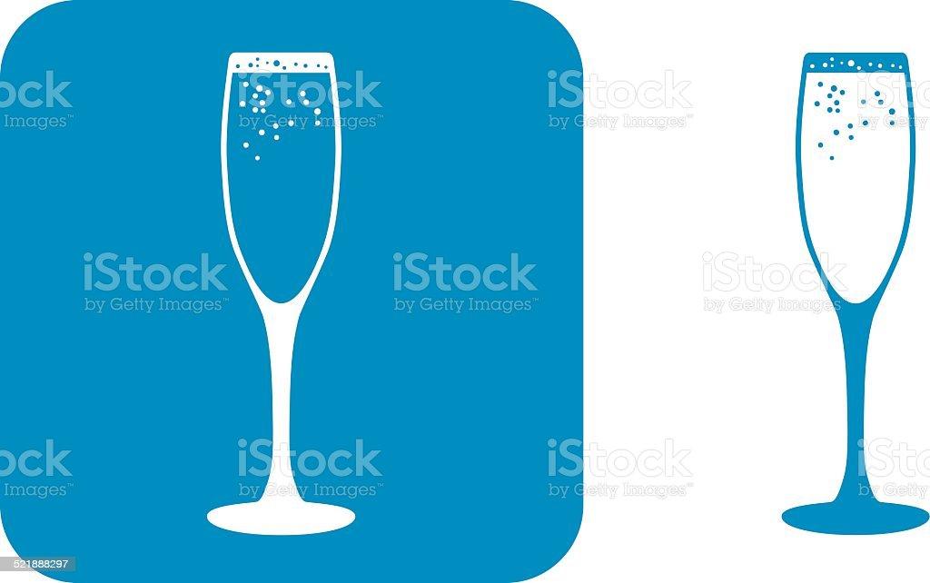 Blue Champagne Icons vector art illustration