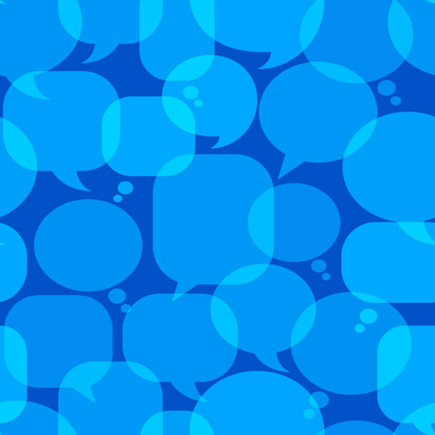 Blue Chat Bubbles royalty free vector art Pattern Blue Chat Bubbles Icon Pattern pattern stock illustrations