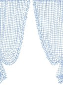 Blue checked curtain in French provincial style