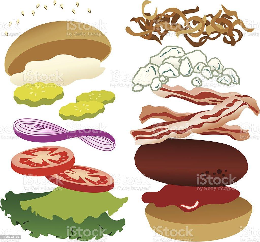 Blue Cheese Bacon Burger vector art illustration