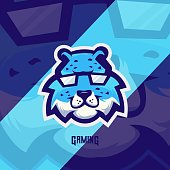 Blue cheetah mascot logo design vector with modern illustration concept style for badge, emblem and t shirt printing. Smile cheetah illustration for sport team.