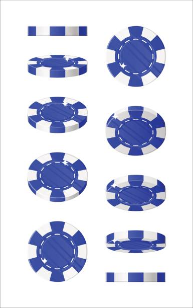 Blue chips views cartoon style isolated Blue chips views cartoon style isolated. The blue chips are at different angles around its axis for designers and illustrators. Rotation of bets in the form of a vector illustration gambling chip stock illustrations