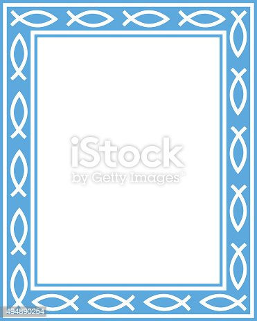 Vector illustration of a blue rectangle frame with christian fish icons on it.