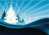 Blue chritmas vector with forest, stars and floral motifs
