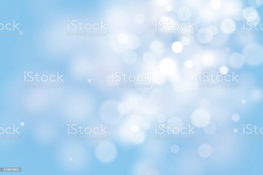 Blue christmas background with bokeh lights vector art illustration