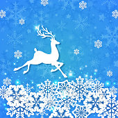 Blue Christmas background with deer