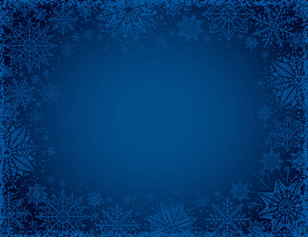 Blue christmas background with frame of snowflakes and stars, vector illustration Blue christmas background with frame of snowflakes and stars, vector illustration holiday background stock illustrations
