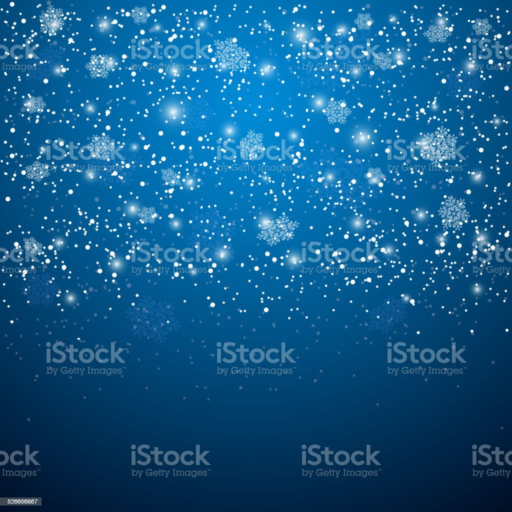 Blue Christmas background with snowflakes vector art illustration