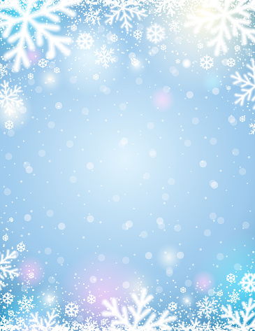Blue  christmas background with white blurred snowflakes, vector illustration