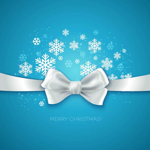 Fondo de Navidad azul con lazo de seda blanca - ilustración de arte vectorial