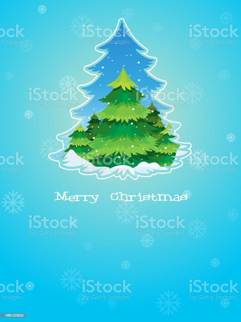 Ilustración de Azul Plantilla De Tarjeta De Navidad Con El árbol De ...