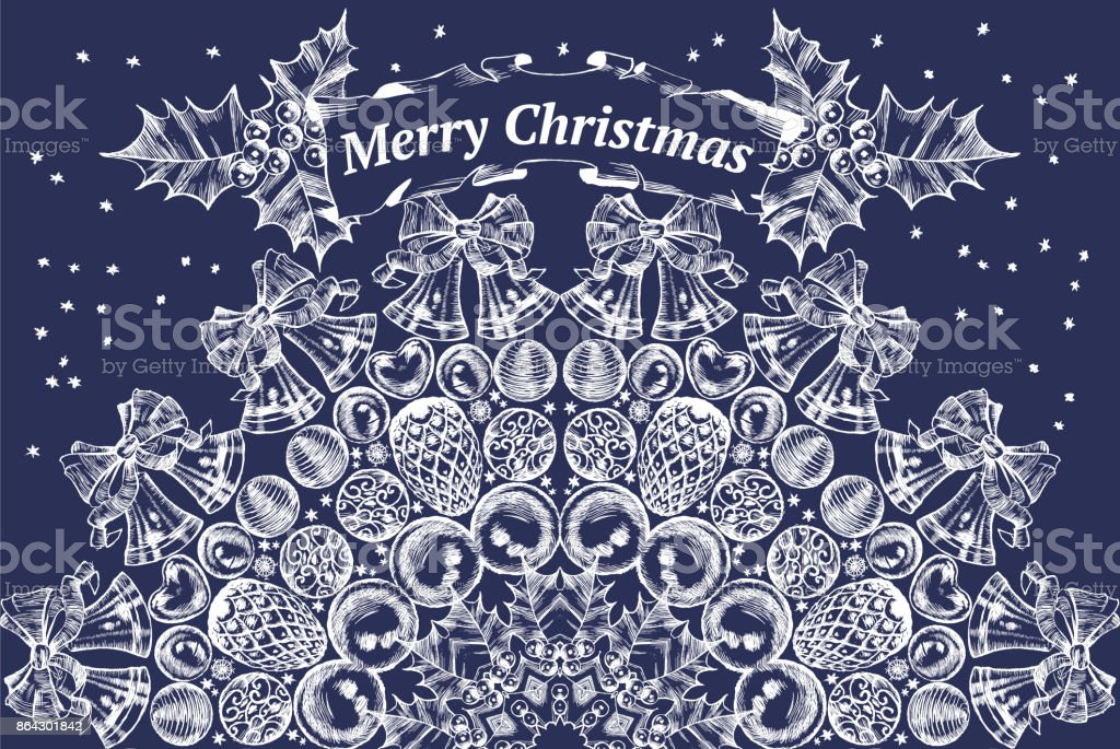 Blue Christmas card with circular pattern vector. Engraving royalty-free blue christmas card with circular pattern vector engraving stock vector art & more images of abstract