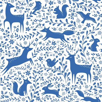 Blue Christmas forest pattern