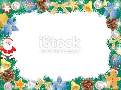 istock Blue Christmas frame of Santa, poinsettia, and pinecone. 1331021568