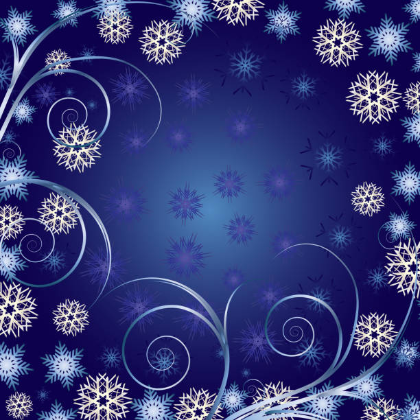 Blue Christmas greetings card, New Year background, part 1 vector art illustration