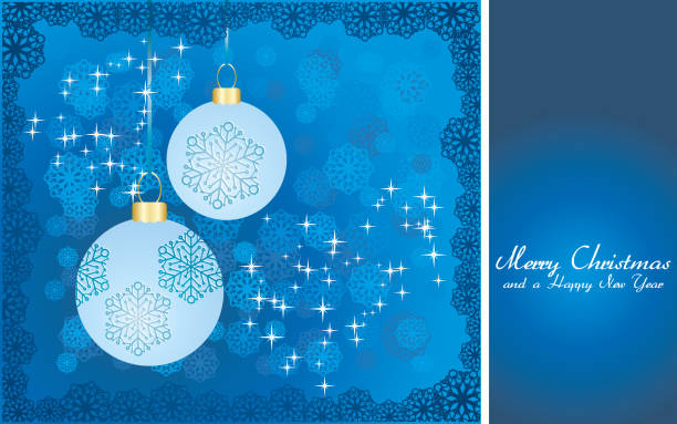 Blue Christmas greetings card, New Year background, part 18 vector art illustration