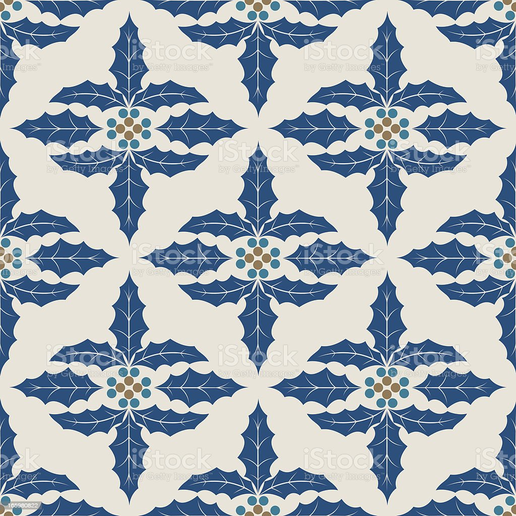 Blue Christmas Holly Pattern royalty-free stock vector art