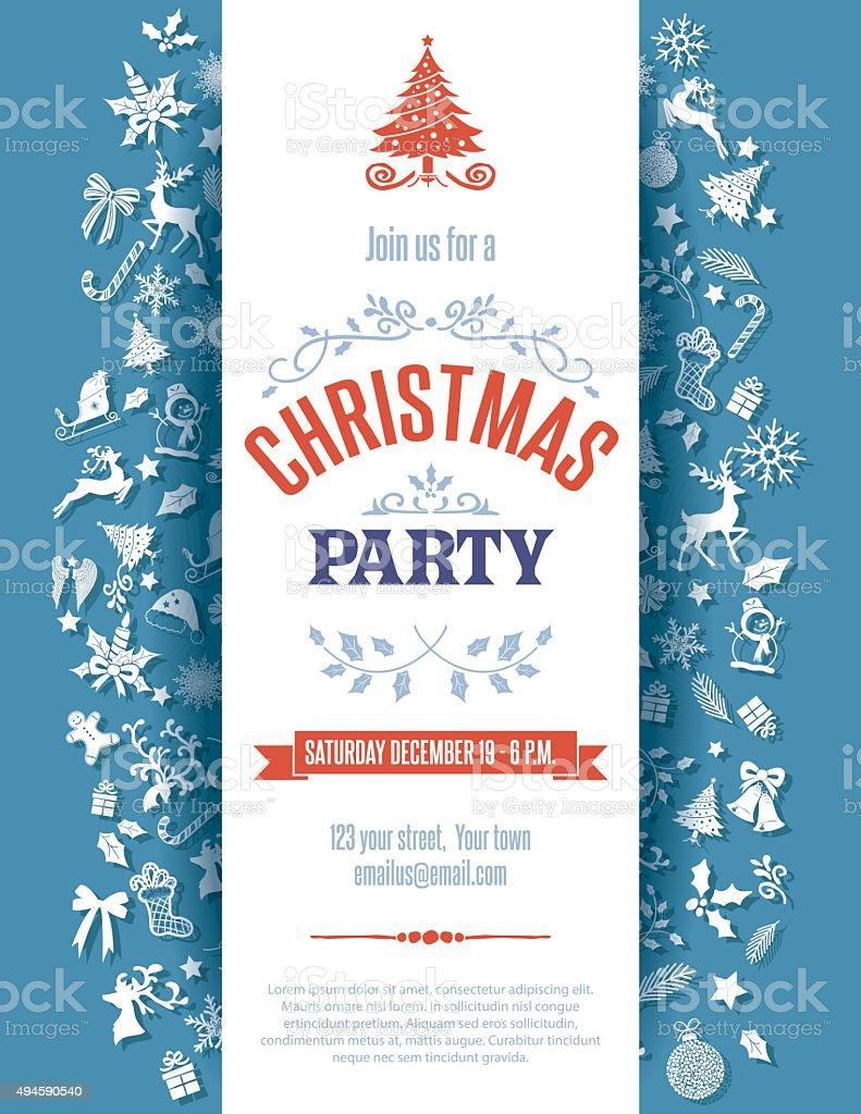 Plantilla De La Invitación De Navidad Azul - Arte vectorial de stock ...