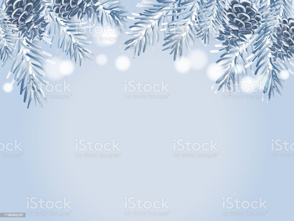 Blue Christmas Tree Branches And Pine Cones On A Light Blue Background Stock Illustration Download Image Now Istock