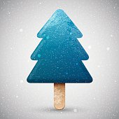 Blue Christmas tree ice cream on a stick, vector winter holiday snowy icon