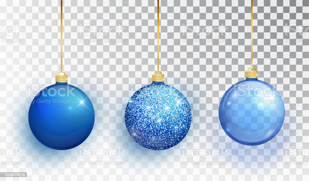 blue christmas tree toy set isolated on a transparent background stocking christmas decorations vector
