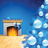 Blue Christmas background with copy space. EPS 10 file. Transparency used on highlight elements.