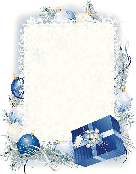 ブルークリスマスフレームを縦にビーズ花フロスト - 休日/季節ごとのイベント点のイラスト素材/クリップアート素材/マンガ素材/アイコン素材