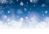 Vector illustration of abstract snow background in blue and white with lots of snowflakes, stars and blurred circles falling on the entire image.Аt the bottom of the design has large snowflakes and white with lots of snow.Clipping path and transparency on the file.File contain EPS10 and large JPEG.