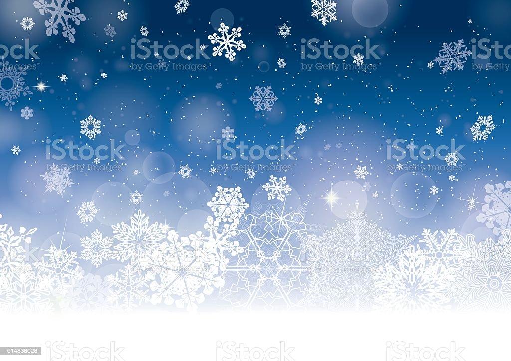Blue Christmas winter background vector art illustration