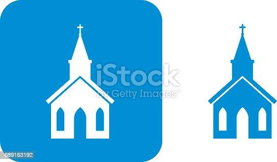 istock Blue Church Icon 689163192