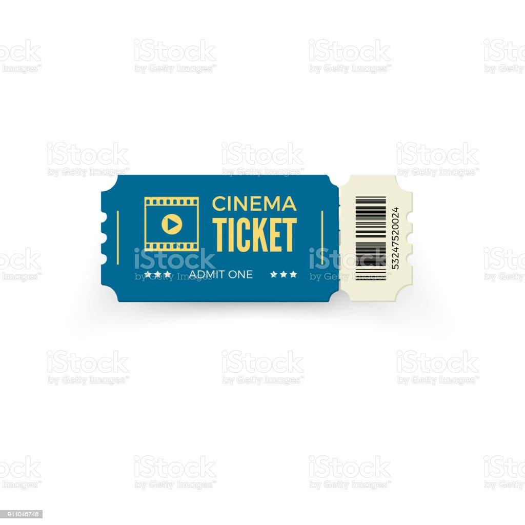 Blauwe Bioscoopkaartje Geïsoleerd Op Een Witte Achtergrond