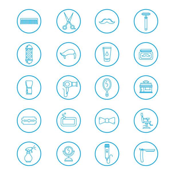 Icônes de barbershop lineart cercle bleu - Illustration vectorielle