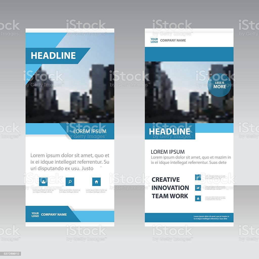 Blue circle clean Business Roll Up Banner flat design template vector art illustration