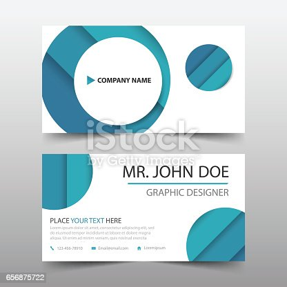 Blue circle corporate business card name card template for Circle business card template