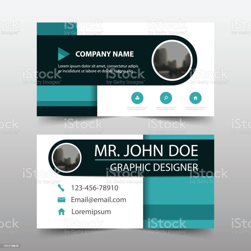 blue circle corporate business card name card template horizontal