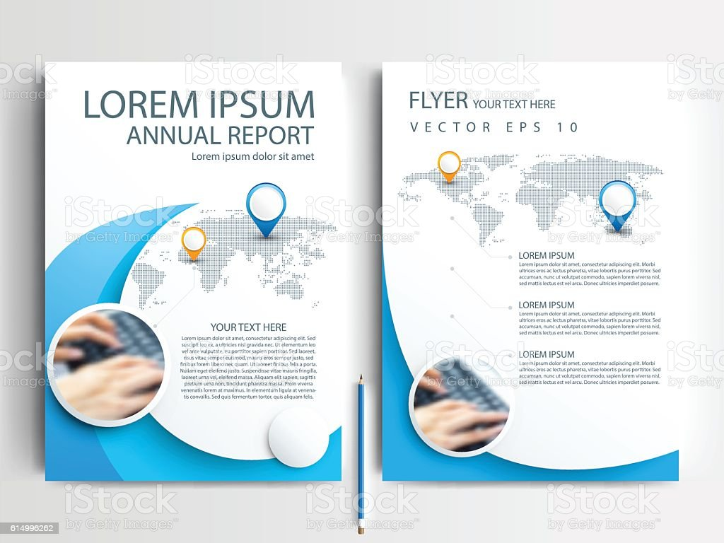 blue circle flyer brochure template design of annual report royalty free blue circle flyer brochure