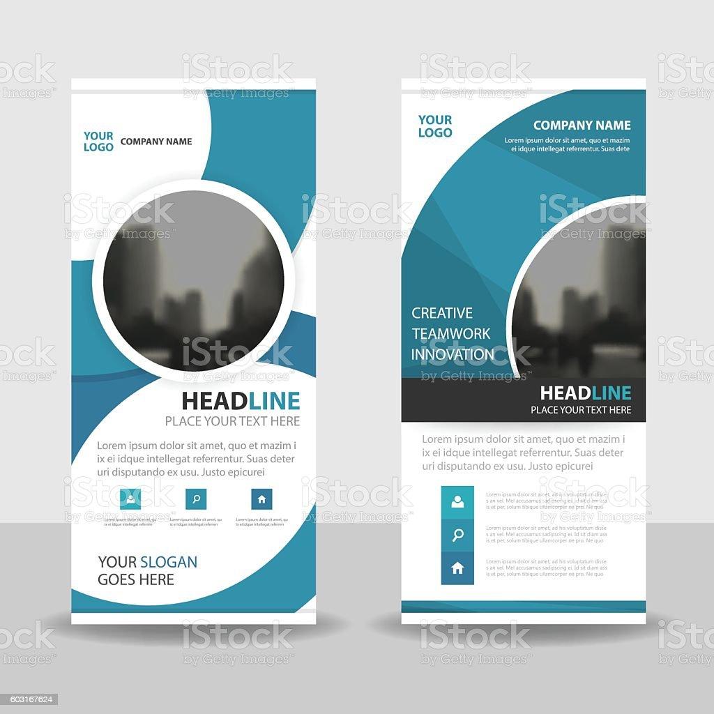 Blue Circle roll up business brochure flyer banner design cover vector art illustration
