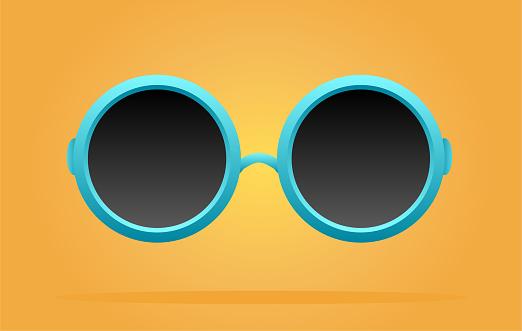 Blue circle sunglasses summer background.